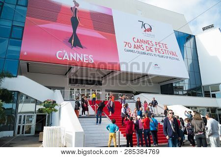Cannes, France - October 26, 2017: Tourists Making Pictures On The Famous Red Carpet Stair Of The Gr