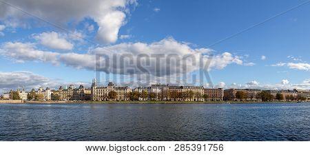 Copenhagen, Denmark - October 4, 2014: Panoramic View Over Peblinge Lake. The Lakes In Copenhagen, D