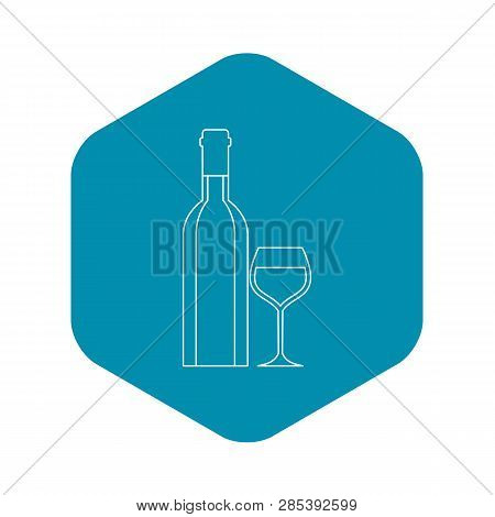 Wine Bottle And Wine Glass Icon. Outline Illustration Of Wine Bottle And Wine Glass Vector Icon For