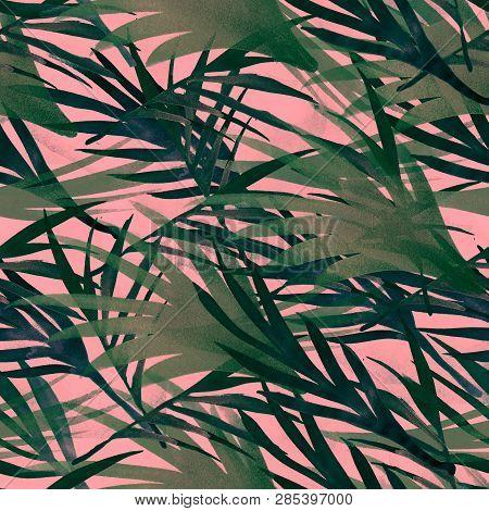 Tropic Seamless Summer Pattern Design. Watercolor Bohemian Botanical Background Summer Jungle Leaves