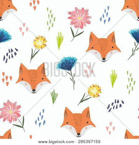 Cute Seamless Pattern With Cartoon Orange Foxes, Colorful Dots And Childish Flowers. Funny Summer Ha