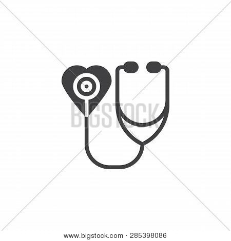 Heart With Stethoscope Vector Icon. Filled Flat Sign For Mobile Concept And Web Design. Medical Heal