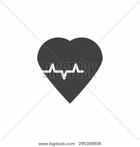 Heart Cardiology Vector Icon. Filled Flat Sign For Mobile Concept And Web Design. Heart Beat Pulse G