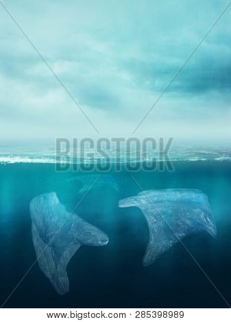 Plastic bags in the ocean. Pollution concept.