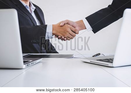 Business Handshake After Discussing And Analysis Graph Stock Market Trading Good Deal Of Trading To