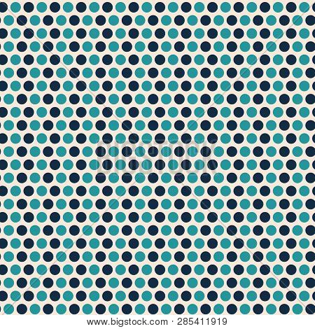 Contemporary Light And Dark Blue Polka Dot Seamless Vector Pattern With A Cool Vibe. Great For Packa