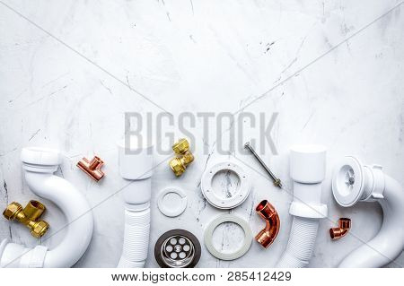 Concept Plumbing Work Top View On Stone Background