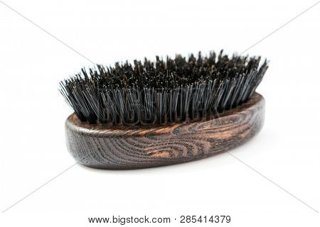 Beard Brush - Oval shaped brush wood with natural bristles on white background
