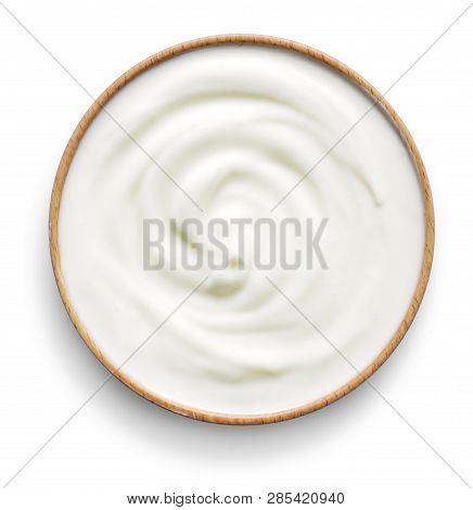Delicious Yogurt Scene With Wooden Bowl, Isolated On White Background. Closeup Shot Of Healthy Fresh