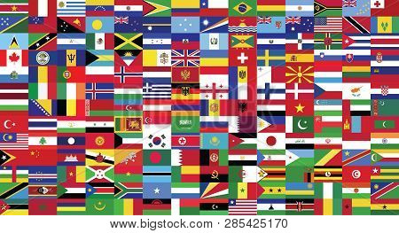 World Flag Collection.world Countries Flags Collection Drawing By Illustration.there Is One Hundred