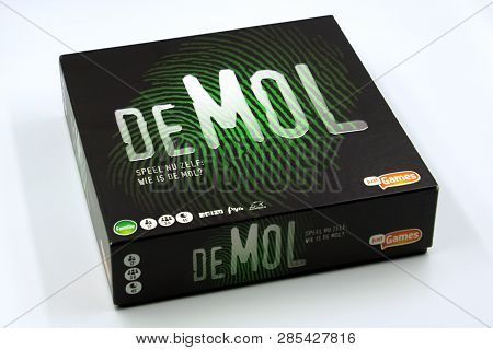 Amsterdam, The Netherlands - February 21, 2019: Populair Dutch Board Game Wie Is De Mol? Against A W