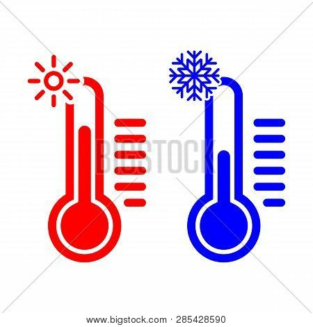 Celsius Meteorology Thermometers Measuring Heat And Cold, Vector Illustration. Thermometer. Hot, Col