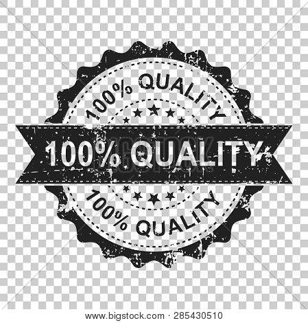 100 Quality Scratch Grunge Rubber Stamp. Vector Illustration On Isolated Transparent Background. Bus
