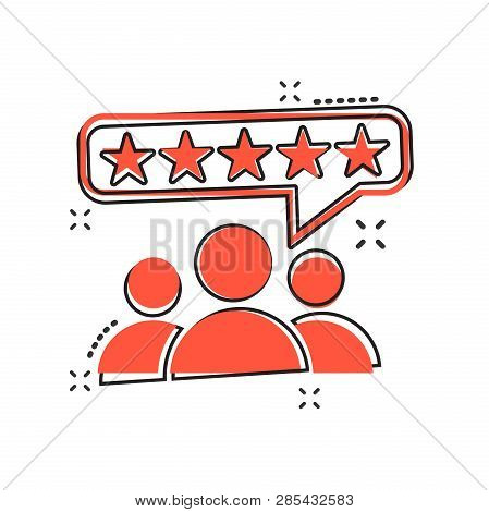 Vector Cartoon Customer Reviews, User Feedback Icon In Comic Style. Rating Sign Illustration Pictogr