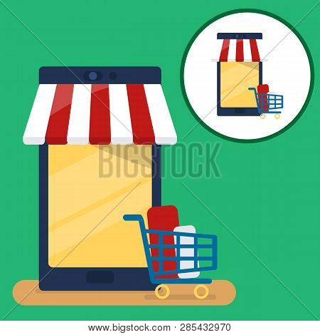 Mobile Phone With Full Shopping Cart, Vector Illustration, Online Order Notification Concept, E-comm