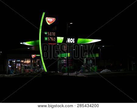 Miercurea Ciuc, Romania-21 February 2019: Mol Gas Station At Night.