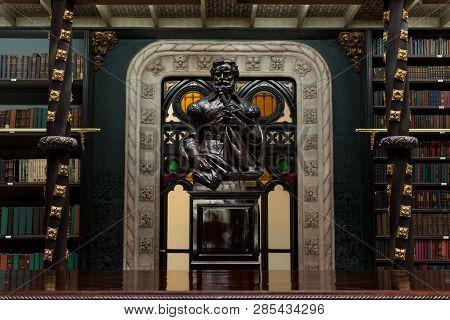 Rio De Janeiro, Brazil - February 19, 2019: Statue Of Pedro Alvares Cabral Inside The Royal Portugue