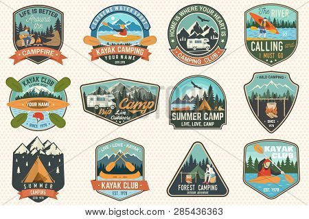 Set Of Summer Camp, Canoe And Kayak Club Badges. Vector. Concept For Patch, Stamp. Retro Design With