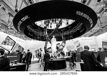 Hannover, Germany - March 14, 2016: Booth Of Software Ag Company At Cebit Information Technology Tra