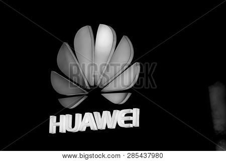 Shanghai, China - August 31, 2016: The Logo Of Huawei Company Above Stage Of  Connect 2016 Informati