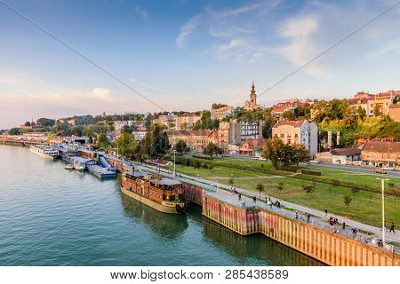 Belgrade, Serbia - September 24, 2016: Belgrade Cityscape From The Sava River In Serbia, Sunset View