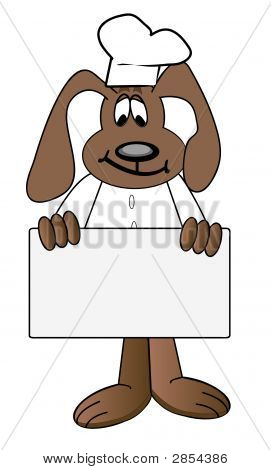 Dog Chef Cartoon Holding Menu Sign