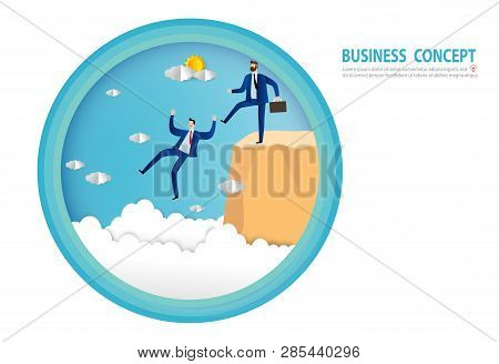 Businessman Being Kicked Out, Businessman Renegade, Paper Art Style, People Business Concept Vector