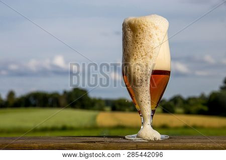 Glass Of Light Beer With Foam And Bubbles On Wooden Table On Summer Landscape Background. Beer Is An