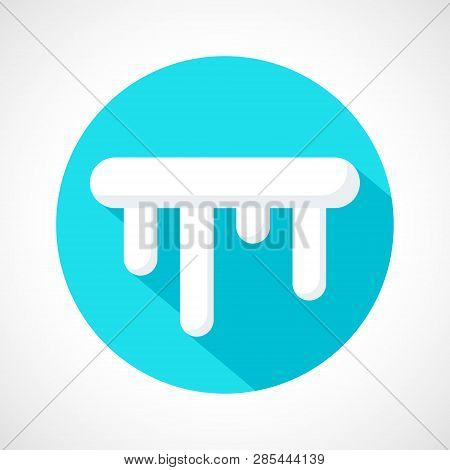 Color Icicles Weather Icon In Flat Style. White Icicles With Long Shadow On Blue Circle For Print, W