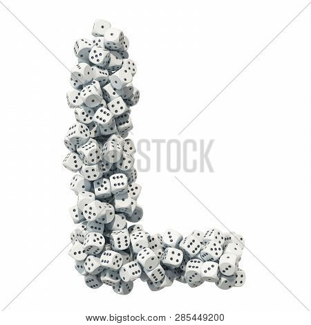 Alphabet Letter L, From Gambling Dice. 3d Rendering Isolated On White Background