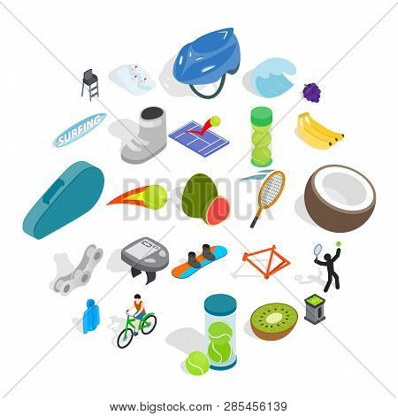 Sport Lifestyle Icons Set. Isometric Set Of 25 Sport Lifestyle Vector Icons For Web Isolated On Whit