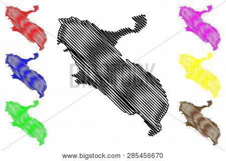 Ilam Province (provinces Of Iran, Islamic Republic Of Iran, Persia) Map Vector Illustration, Scribbl