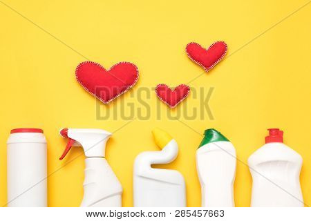 DIY home cleanup. Cleaning products that work. Conceptual composition on yellow background. poster