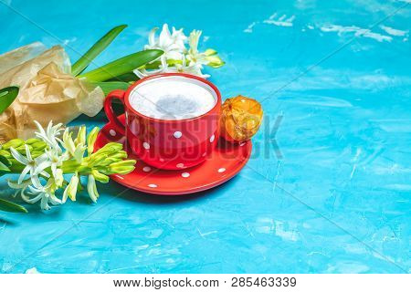 Cup Of Coffee And White Hyacinths, Spring Greeting Card.