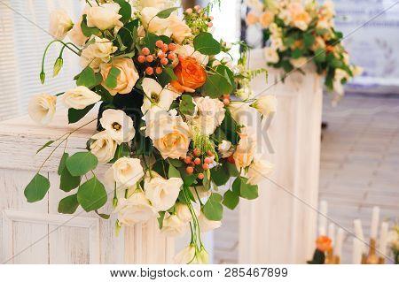 Wedding Ceremony Outdoors. Wedding Ceremony Decoration, Beautiful Wedding Decor