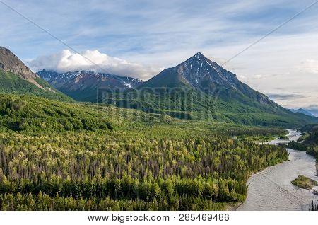 Panorama Of Matanuska River And Mountains Along Alaskan Highway 1, Usa