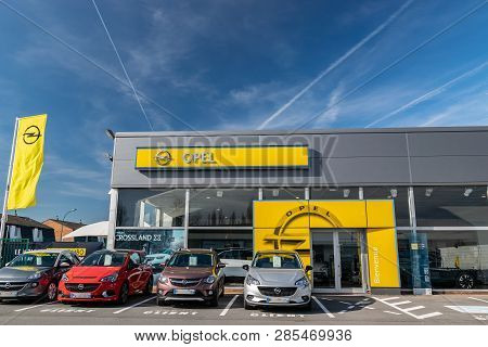 Roncq,france-february 20,2019:  Opel Brand Dealership Store.opel Automobile Gmbh Is A German Company