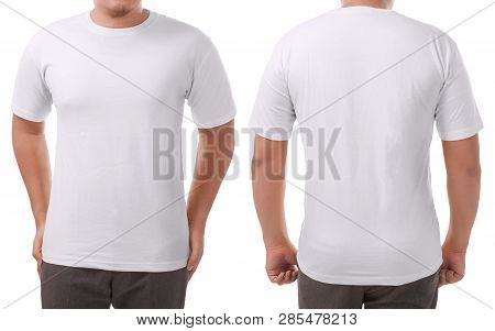White T-shirt Mock Up, Front And Back View, Isolated. Male Model Wear Plain White Shirt Mockup. Tshi