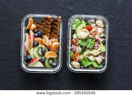 Office Sweet And Savory Food Lunch Box. Pasta, Tuna, Spinach, Avocado Salad And Fruit, Peanut Butter