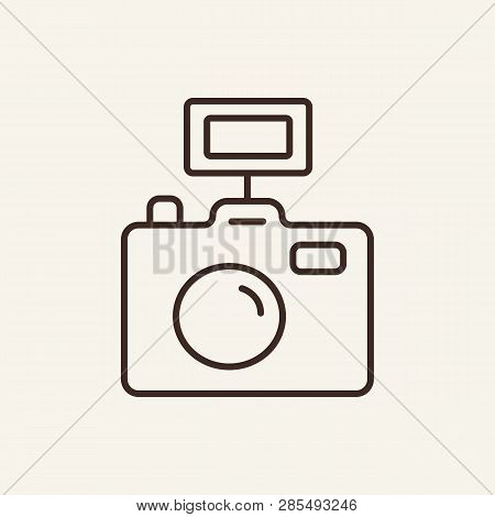 Camera Line Icon. Photo, Photographer, Instrument, Tool. Mass Media Concept. Can Be Used For Topics