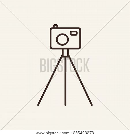 Camera On Tripod Line Icon. Photo, Photographer, Equipment. Mass Media Concept. Can Be Used For Topi