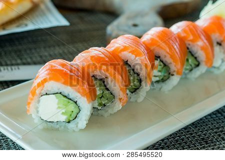 Philadelphia Roll Sushi With Salmon, Prawn, Avocado, Cream Cheese. Sushi Menu. Japanese Food.fresh S