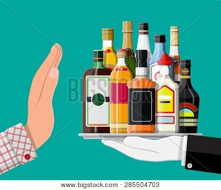 Alcohol Abuse Concept. Hand Gives Bottle Of Alcohol To Other Hand. Stop Alcoholism. Rejection. Vecto