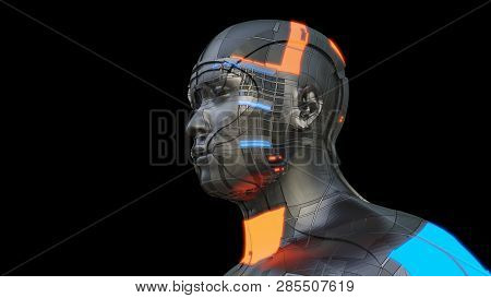 Futuristic Robot Of Dark Color With Luminous Parts Of Blue And Orange. Isolated On Black Background.