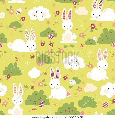 Easter Bunny Seamless Vector Pattern. Cute Bunnies, Easter Eggs, Flowers, Clouds On Green Background