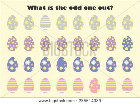 What Is The Odd One Out For Children, Easter Eggs In Cartoon Style, Fun Education Game For Kids, Pre