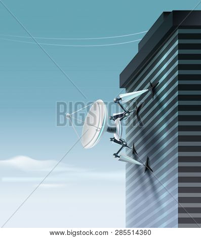 Vector Concept Of Fictional Quadruped Robot With Parabolic Satellite Dish Which Is Climbing Up The B