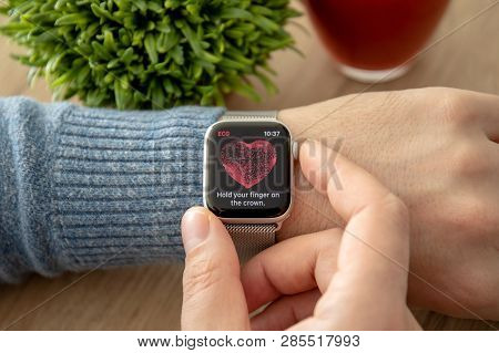 Anapa, Russia - February 17, 2019: Man Hand With Apple Watch Series 4 With The Ecg App On The Screen