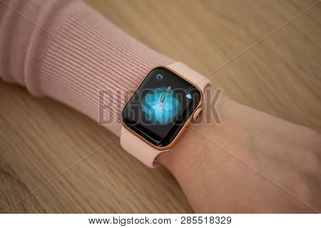 Anapa, Russia - February 16 2019: Woman Hand With Apple Watch Series 4 And Breath App On The Screen.