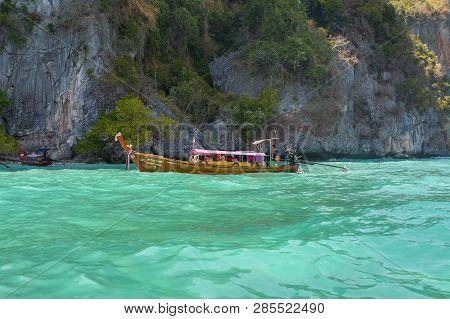 Krabi Thailand 3 Feb 2018: Longtail Boats At The Phi Phi Island In Krabi Province Thailand. Phi Phi